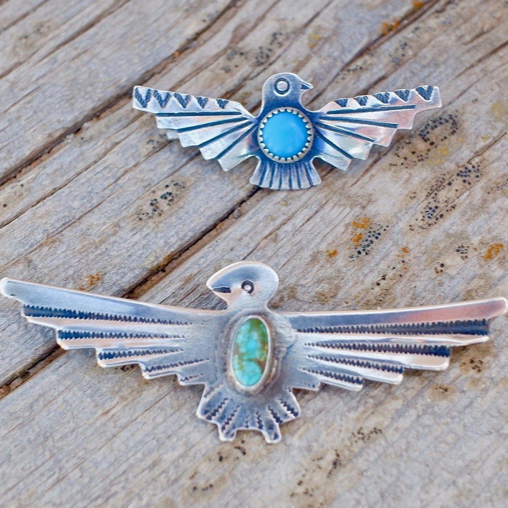 Bell Trading Post Thunderbird Pin Sterling Silver & Turquoise