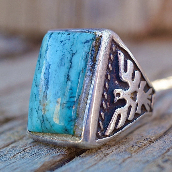 Mens Navajo Turquoise Thunderbird Ring Size 8 Kingman Mine