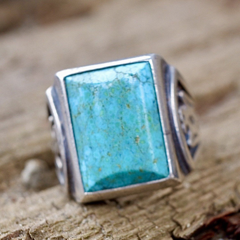 Turquoise & Sterling Thunderbird Ring Size 10.5 Nevada