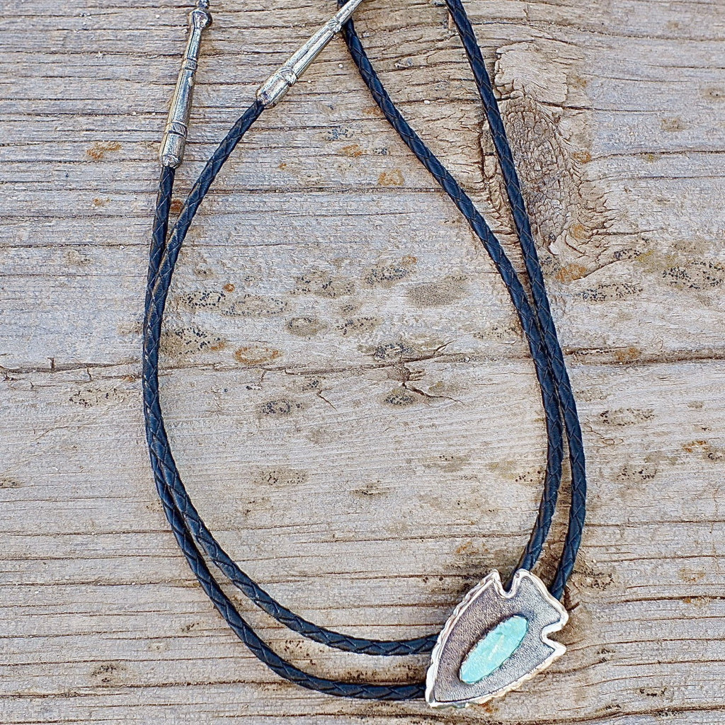 Bell Trading Post Arrowhead Bolo Tie Sterling Silver & Turquoise