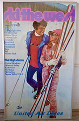 Ski the West Poster United Airlines 1973 Framed Aspen Taos Squaw Valley