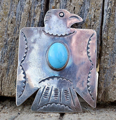 Native American  Thunderbird Pin Navajo Silversmith Fred Begay