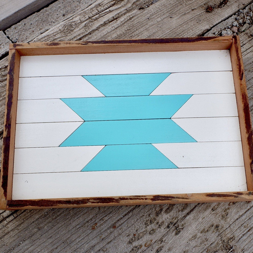 Reclaimed Wood Serving Tray White & Turquoise Aztec