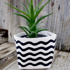 Wavy Lines Canvas Planter Pot Black