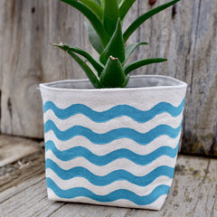 Wavy Lines Canvas Planter Pot Turquoise