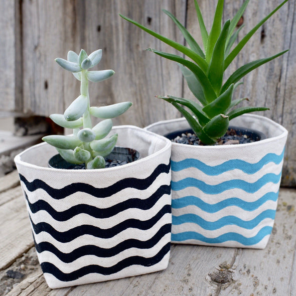 Wavy Lines Canvas Planter Pot