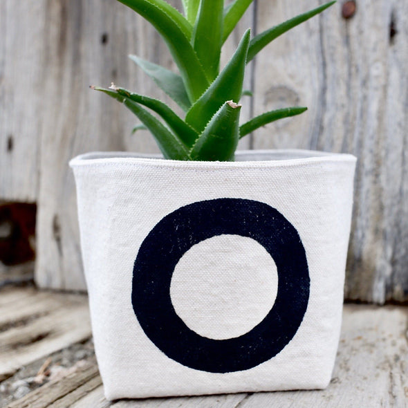 Black Circle Canvas Planter Pot