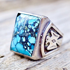 Native American Mens Turquoise Thunderbird Ring Size 8.5
