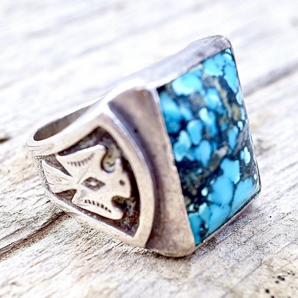 Mens Turquoise Thunderbird Ring Size 8.5 Native American