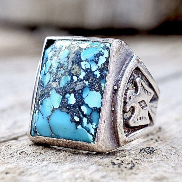 Spiderweb Turquoise Thunderbird Ring Size 8.5 Bell Trading Company