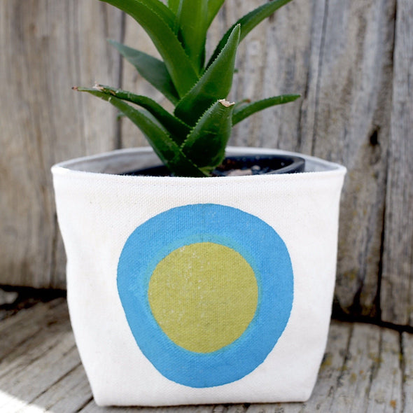 Turquoise Green Canvas Planter Pot