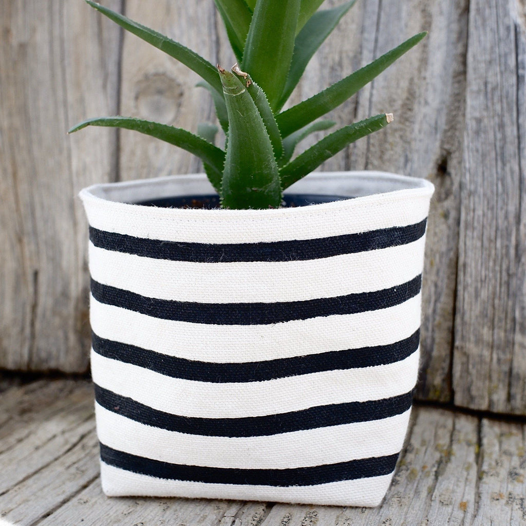 Black Stripe Canvas Planter Pot