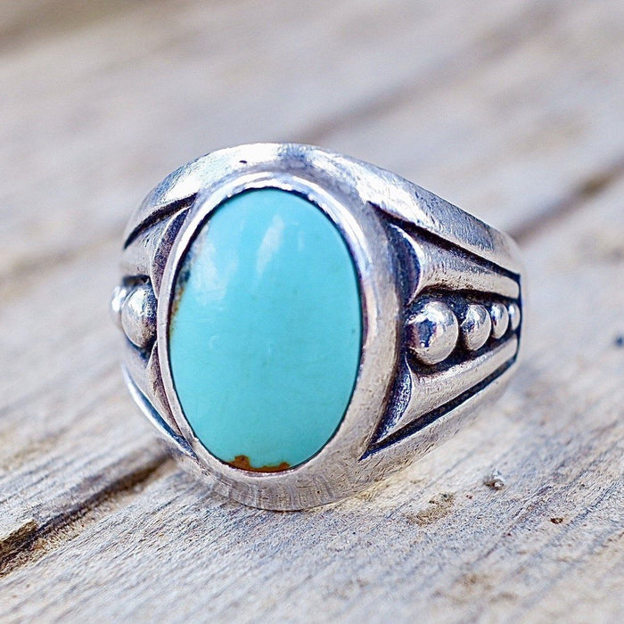Navajo Ring Size 9.5 Sterling Silver Royston Turquoise Nevada