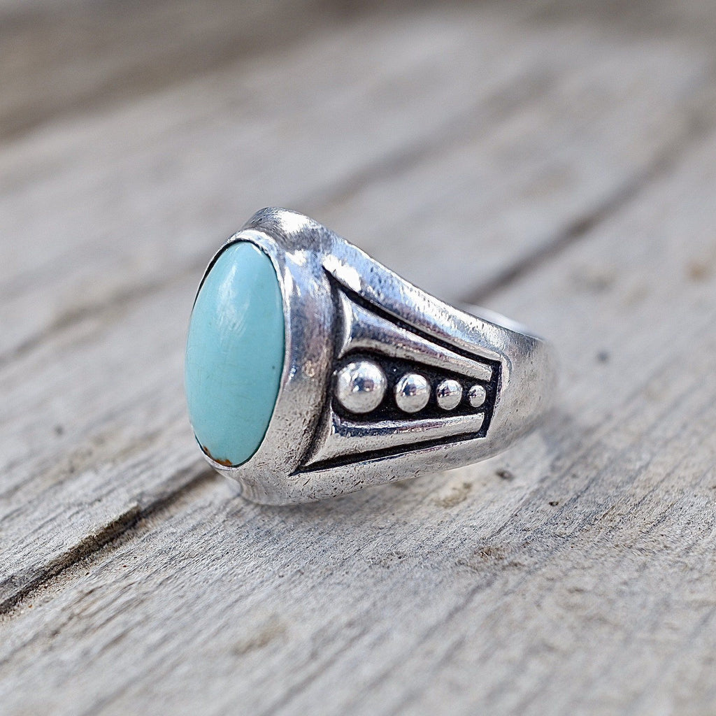 Mens Navajo Turquoise Ring Sterling Silver Old Pawn Size 9.5