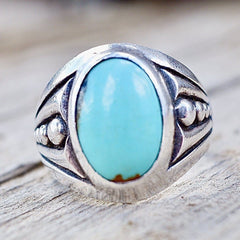 Mens Navajo Turquoise Ring Sterling Silver Old Pawn