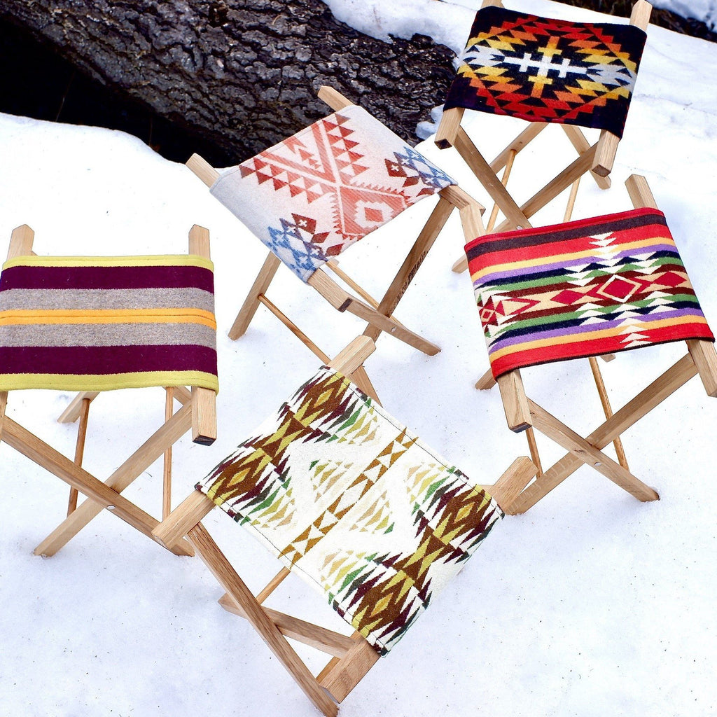 Pendleton southwest blanket camp stool handmade oak wood
