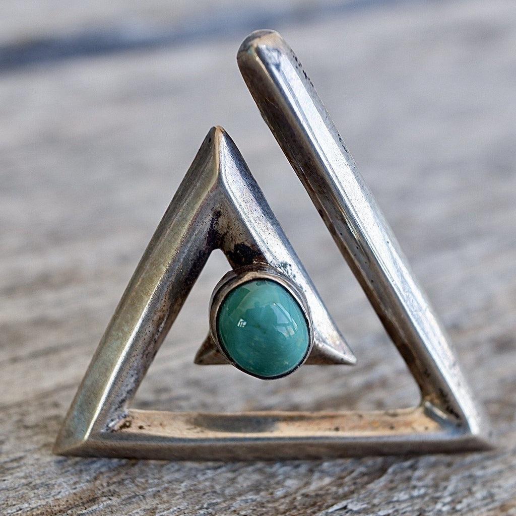 1950's Navajo Triangle Pin Sterling & Green Turquoise