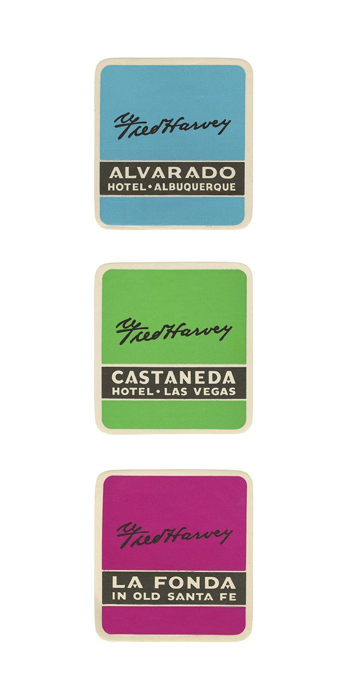 Fred Harvey Hotels Luggage Labels Pop Art Poster La Fond Castaneda Alvarado