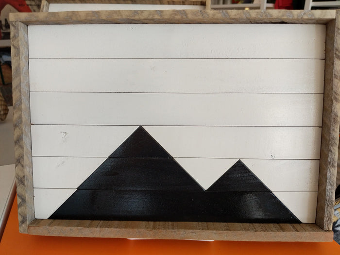 Reclaimed Wood Serving Tray, White and Black Mountains