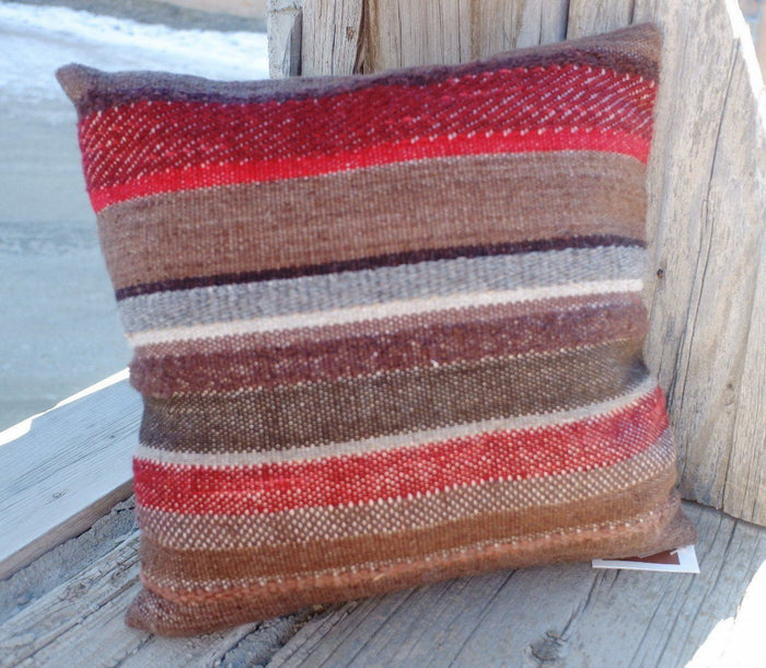 Handwoven Wool Pillow 18""