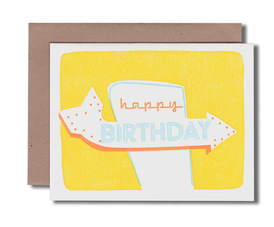 Signage Yellow Birthday Greeting Card