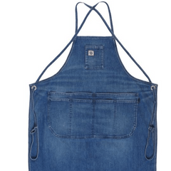 Cone White Oak denim apron with adjustable straps vintage wash