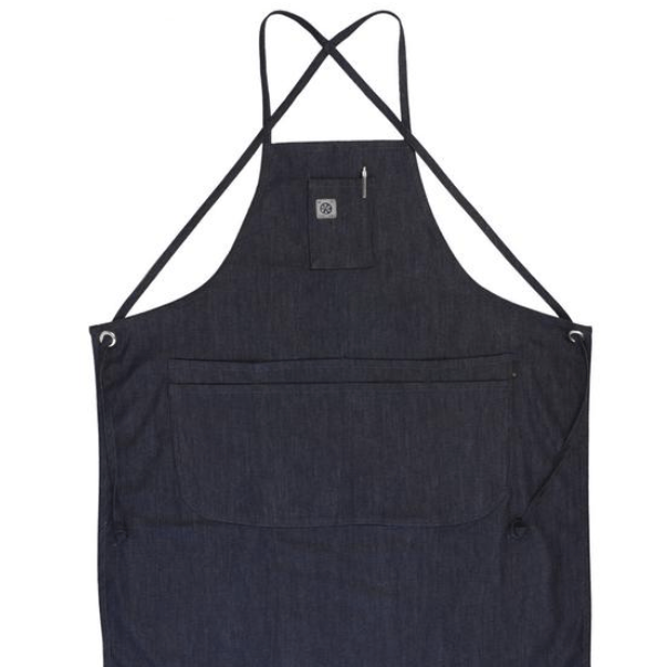 Cone White Oak Raw denim apron with adjustable straps