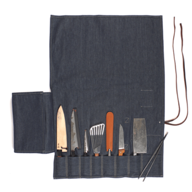 Denim Jean Bar-B-Q Set Knife Roll With Leather Straps