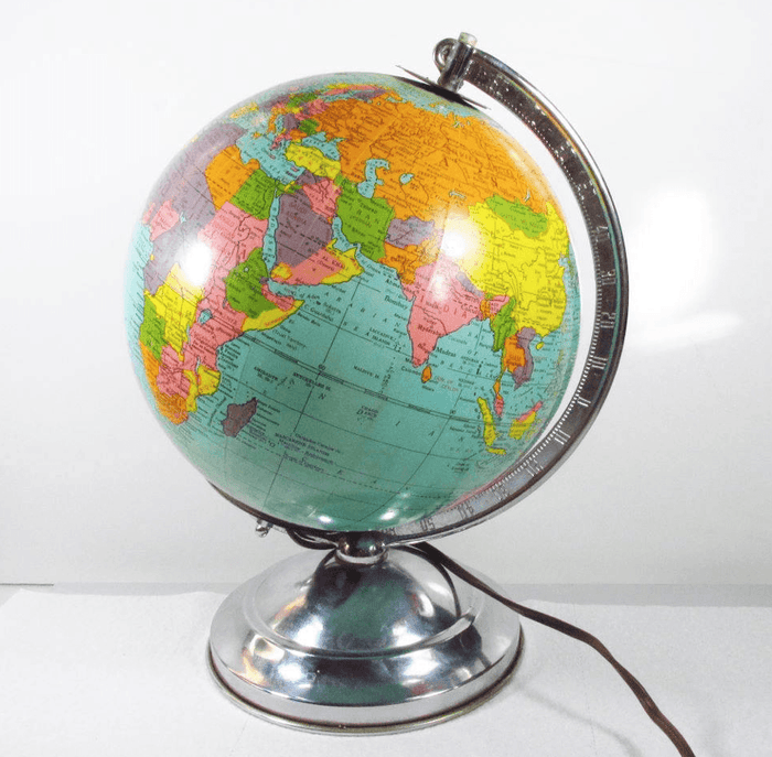 Vintage 1940's Electric Light World Globe