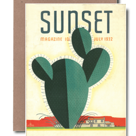 Sunset Magazine 1932 Greeting Card Vintage Cactus