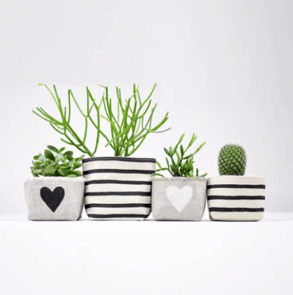 Black Stripes Canvas Planter 3""