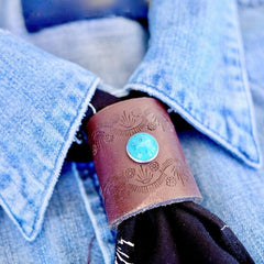 Leather & Turquoise Bandana Slider