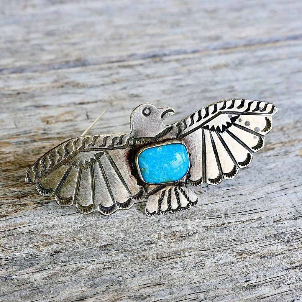 Large Fred Harvey Thunderbird Pin Blue Turquoise
