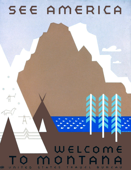 Vintage Montana travel poster See America