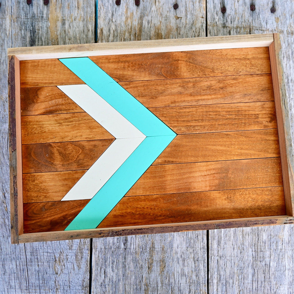 Southwest Wood Serving Tray Turquoise & Black