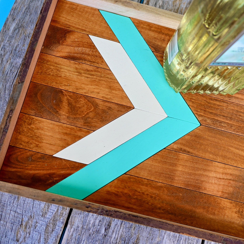 Southwest Wood Serving Tray Turquoise & White