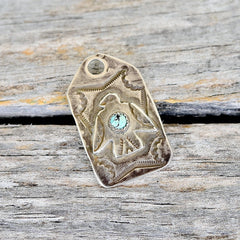 Fred Harvey Thunderbird Dog Tag with Turquoise stone