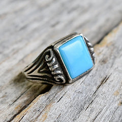 Vintage Sterling & Turquoise Signet Ring Bell Trading Post