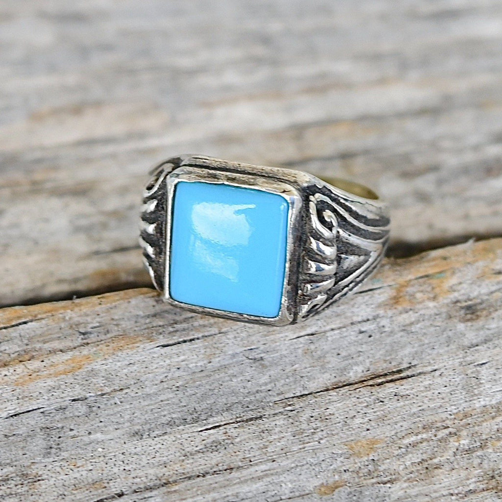 Vintage Sterling & Turquoise Signet Ring Bell Trading Post - Size 4 1/2