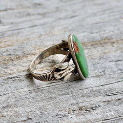 Women's Thunderbird & Turquoise Ring Fred Harvey Era