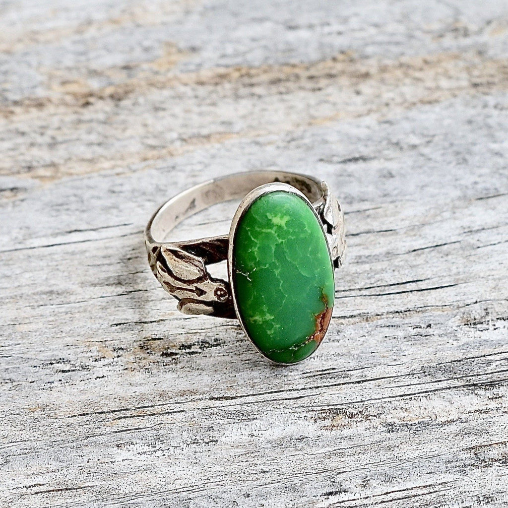 Women's Thunderbird & Turquoise Ring Fred Harvey