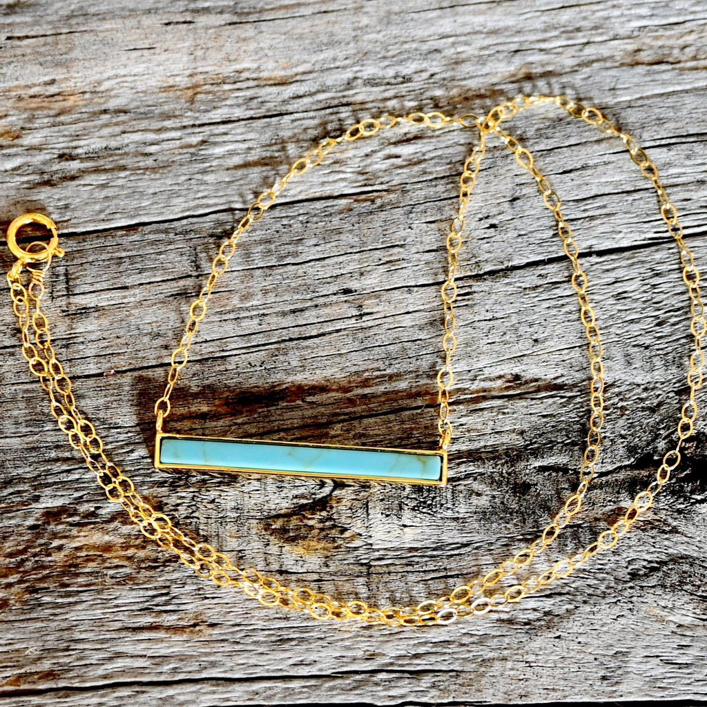 Turquoise Bar Necklace Gold Filled