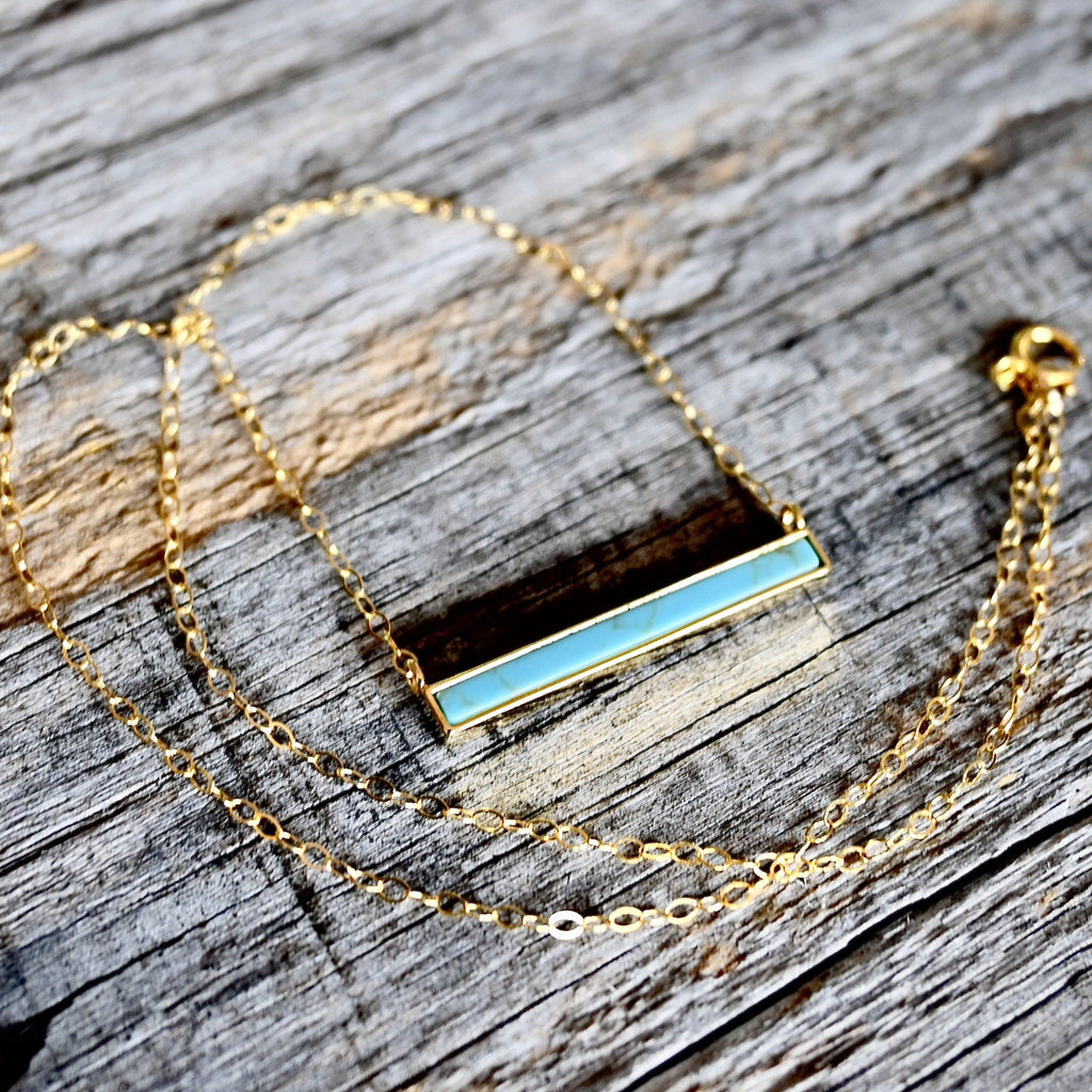 Modern Turquoise Bar Necklace