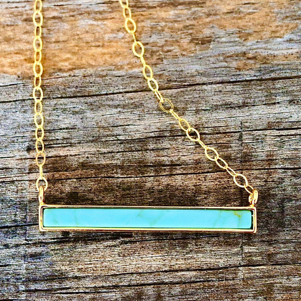 Tiny Turquoise Bar Necklace Handmade