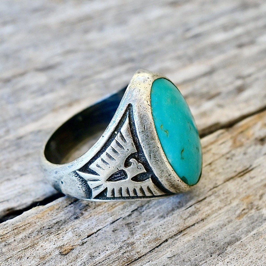 Vintage Mens Navajo Turquoise Ring Size 10