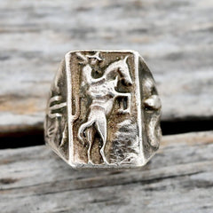 Cowboy Rodeo Ring Vintage Sterling