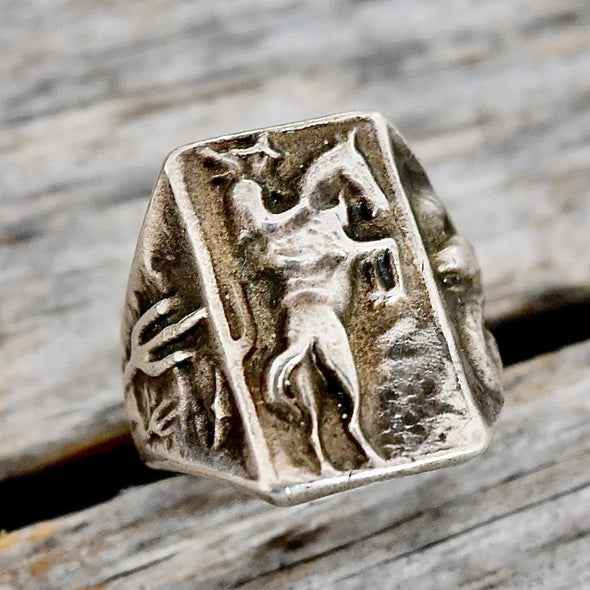 Sterling Cowboy Mens Ring