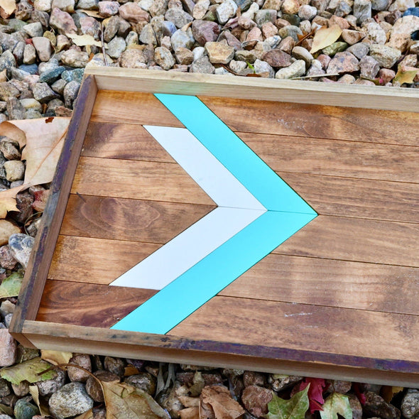 Rustic Wood Serving Tray White & Turquoise