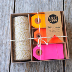 Neon Retro Gift Tags & Twine Box Set