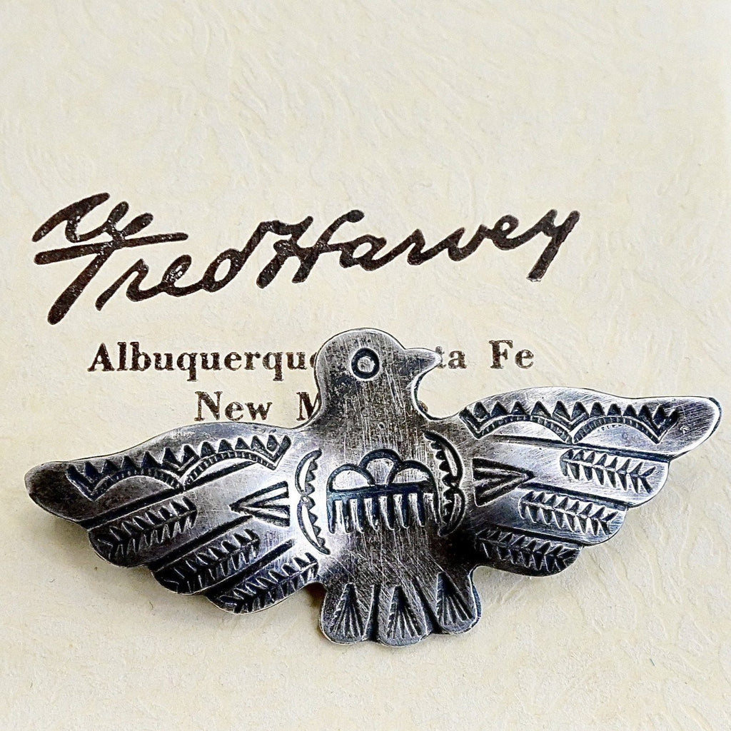 Fred Harvey Thunderbird Pin Sterling Silver